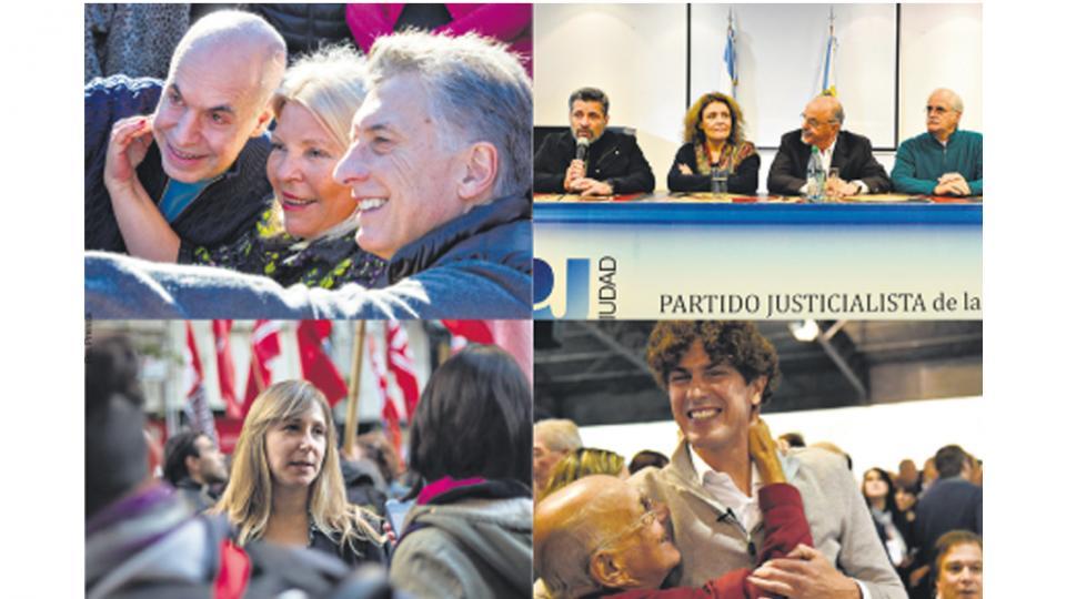 Larreta, Carrió y Macri; el lanzamiento de Unidad Porteña (arriba), Bregman, del FIT, y Lousteau, de Evolución.