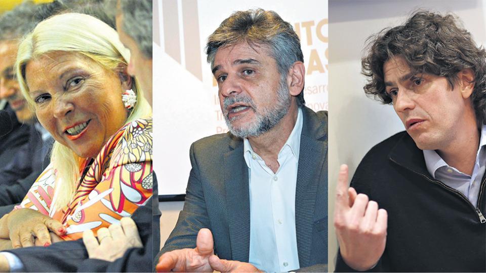 Los principales candidatos de las fuerzas que lideran la intención de voto porteña, Elisa Carrió, Daniel Filmus y Martín Lousteau.