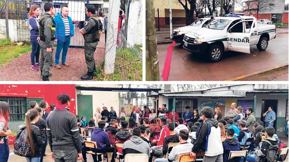Padres y docentes denunciaron la presencia de los gendarmes como un caso de intimidación.