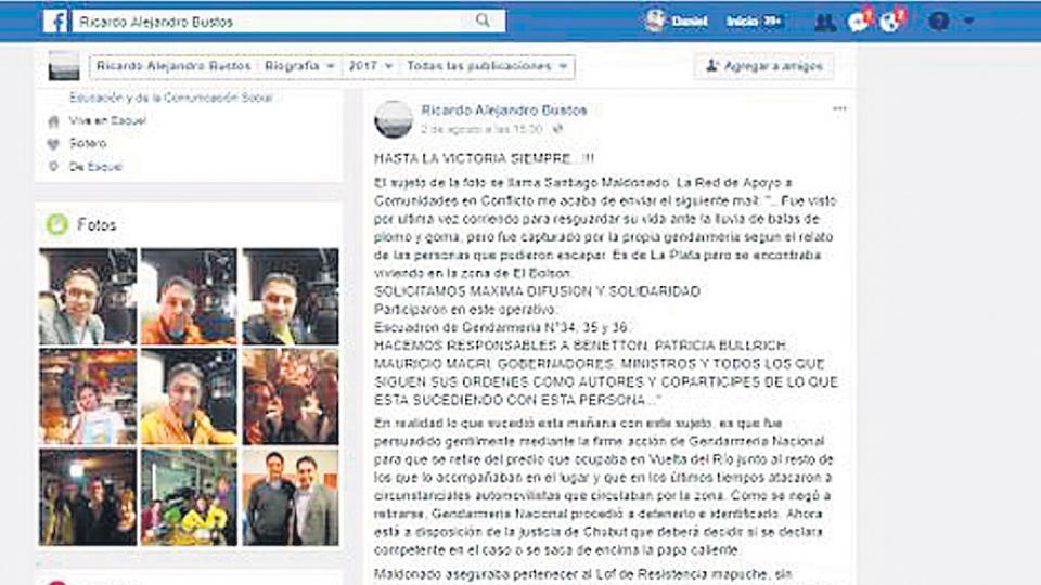La publicación de Bustos en Facebook en la que le atribuyó a Gendarmería la detención de Maldonado.