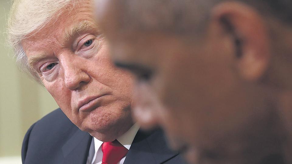 Trump y Obama en el salón Oval después del voto de 2016.