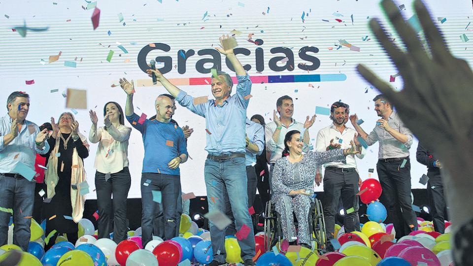 Mauricio Macri y María Eugenia Vidal fueron los protagonistas de los festejos en el búnker de Costa Salguero.