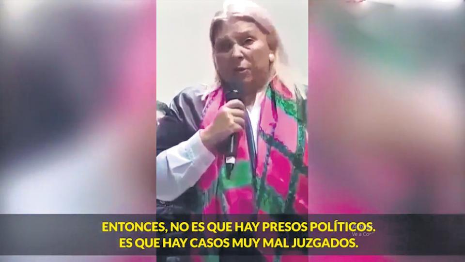 Elisa Carrió en el video durante la campaña electoral.