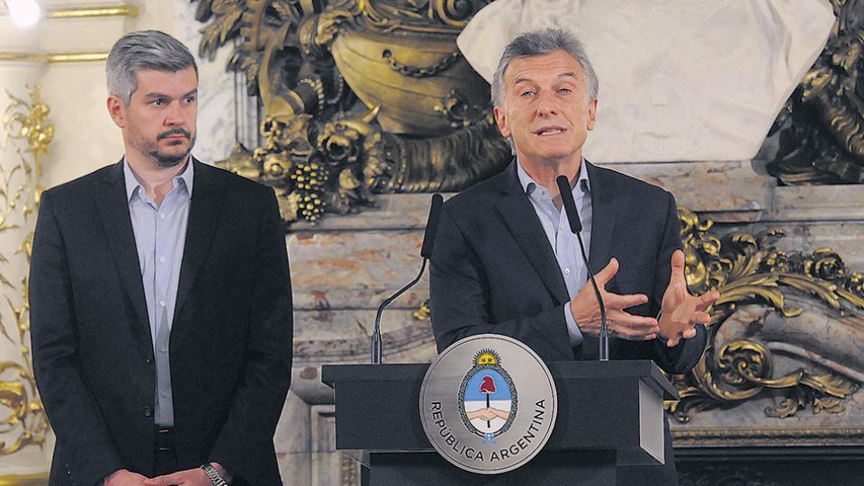El presidente Mauricio Macri dio una conferencia de prensa en la Casa Rosada junto al jefe de Gabinete, Marcos Peña.