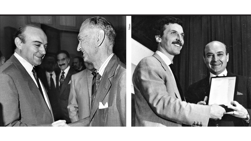 Junto al ministro de Economía de la dictadura José Alfredo Martínez de Hoz y con Mauricio Macri en los 90.