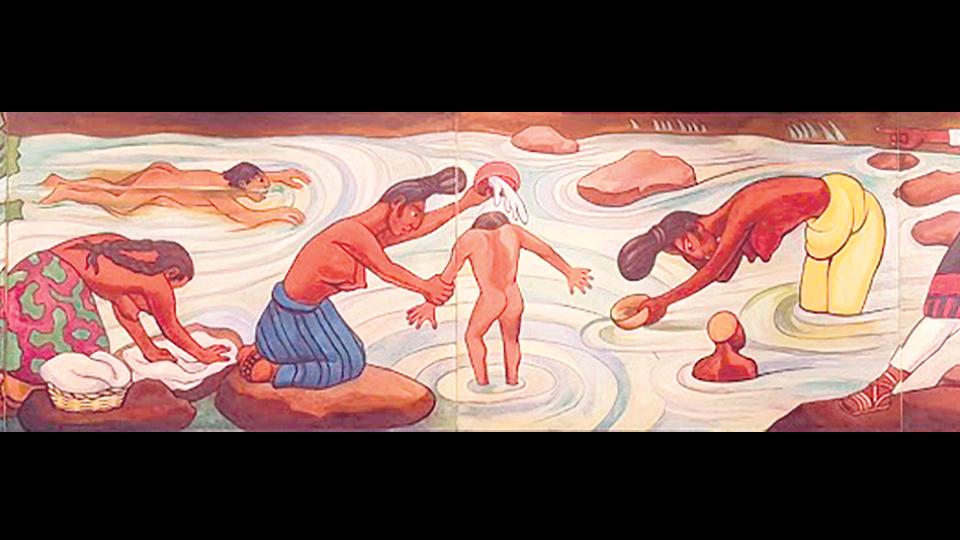 Río Juchitán, ca. 1953-55, óleo de Diego Rivera; 151 x 920 cm –en 4 paneles–; INBA/Museo Nacional de Arte, Ciudad de México.
