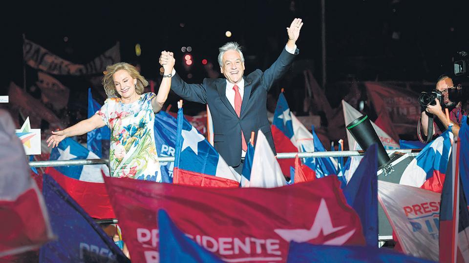 Sebastián Piñera celebró la victoria junto a su esposa Cecilia Morel.