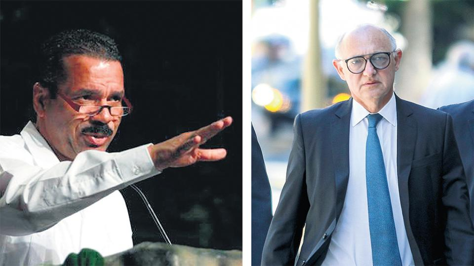 El ex secretario de Interpol Ronald Noble y el ex canciller Héctor Timerman.
