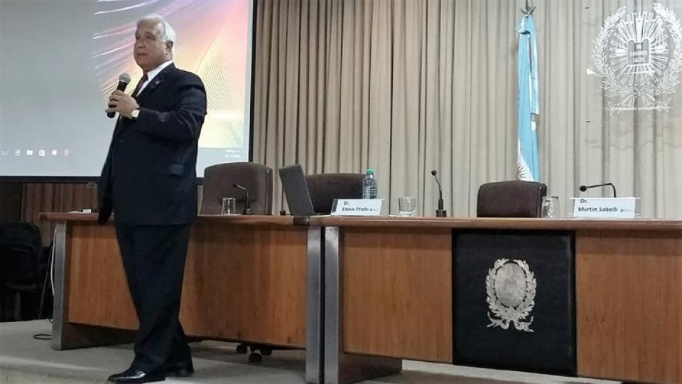 Prado en La Plata, en noviembre de 2016, cuando habló sobre juicio por jurados.