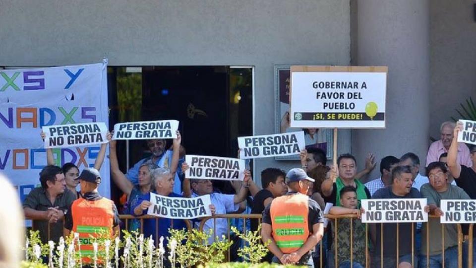 Los ciudadanos de San Rafael se expresaron contra el presidente.