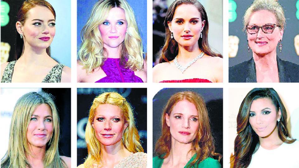 Arriba: Emma Stone, Reese Witherspoon, Natalie Portman, Meryl Streep. Abajo: Jennifer Aniston, Gwyneth Paltrow, Jessica Chastain, Eva Longoria.