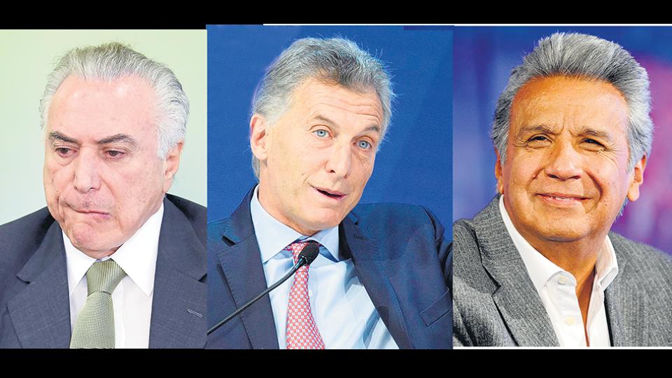 Michel Temer, Mauricio Macri y Lenín Moreno