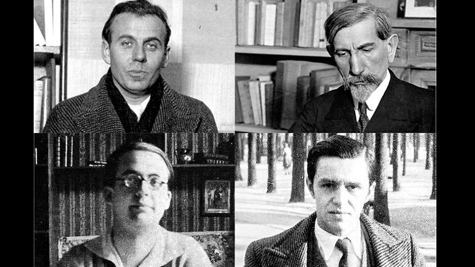 Céline (arriba izq.), Maurras (arriba der.), Brasillach (abajo izq.) y Rebatet (abajo der.), los nombres del auge de la literatura fascista en Francia.