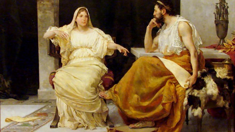 """Ilustración de José Garnelo y Alda: """"Aspasia y Pericles"""" (óleo, 1893)"""