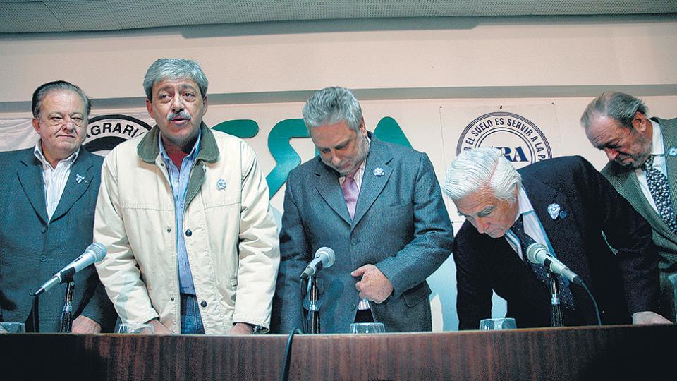 Los integrantes de la Mesa de Enlace en los conflictivos meses de 2008.