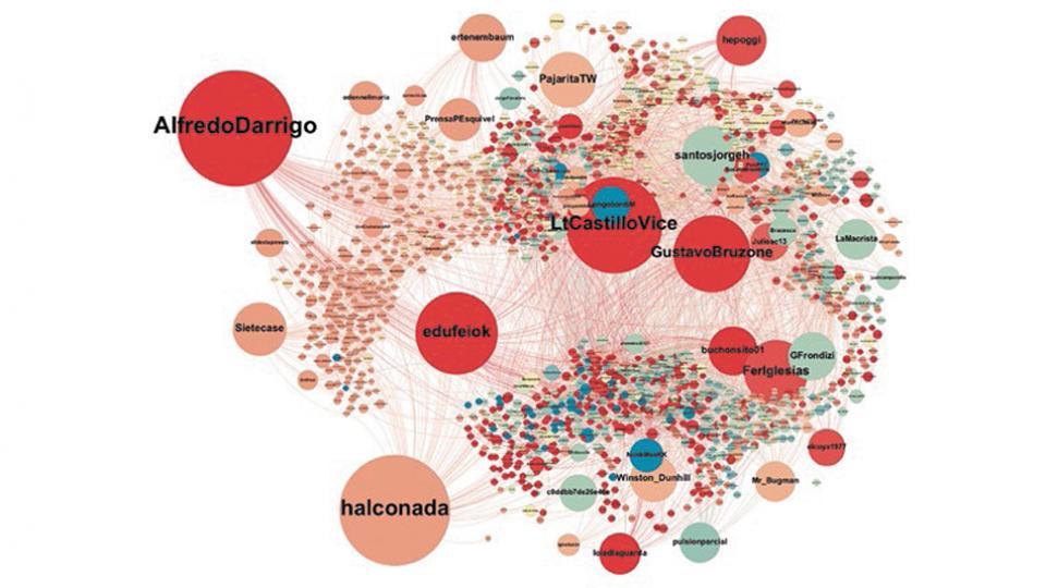 El gráfico ilustra los nodos de retuits de las cuentas que tienen comportamiento de cibertropas.