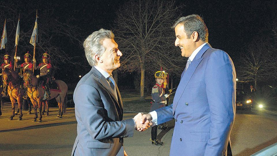 El presidente Mauricio Macri y el emir de Qatar, el sheik Abdullah bin Mohammed bin Saud Al Thani.