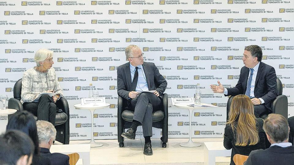 Christine Lagarde participó de un panel en la Universidad Torcuato Di Tella junto al ministro Nicolás Dujovne.