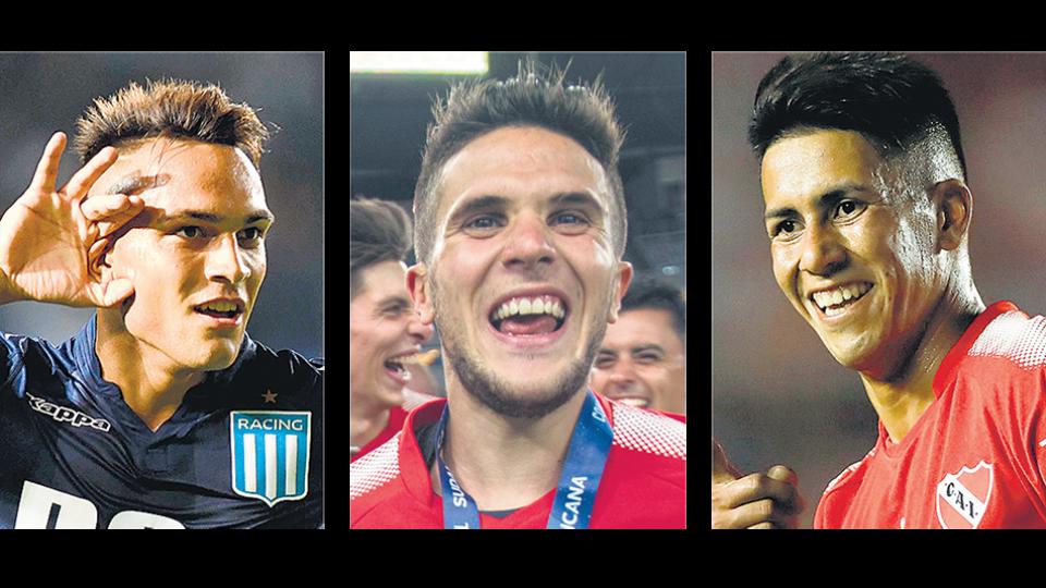 Lautaro Martínez (Racing), Fabricio Bustos (Independiente) y Maximiliano Meza (Independiente).
