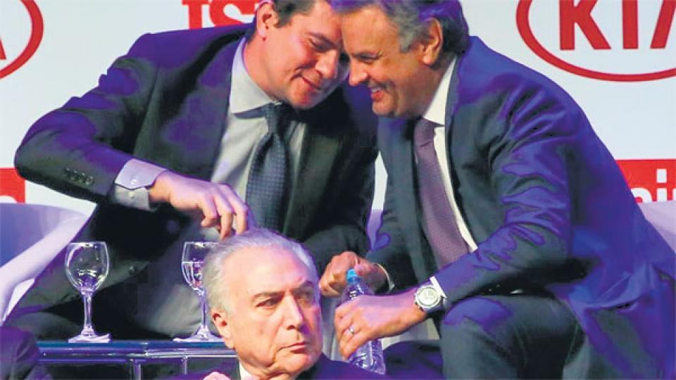 Arriba: el juez Sergio Moro y Aécio Neves. Debajo: Michel Temer.