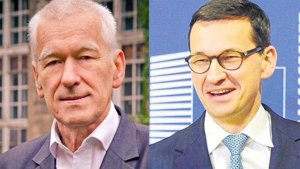 Kornel y Mateusz Morawiecki, ex senador y premier de Polonia, ambos negacionistas de la historia.