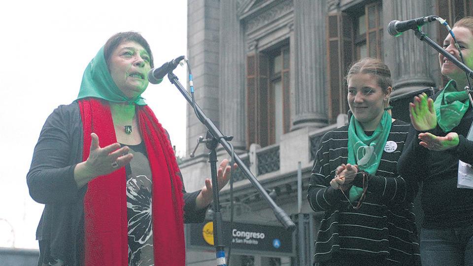 """Liliana Herrero unió a través del pañuelo verde dos aspectos de la """"lucha por la vida""""."""