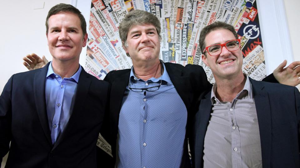 Cruz, Hamilton y Murillo, en su encuentro de hoy con la prensa en Italia.