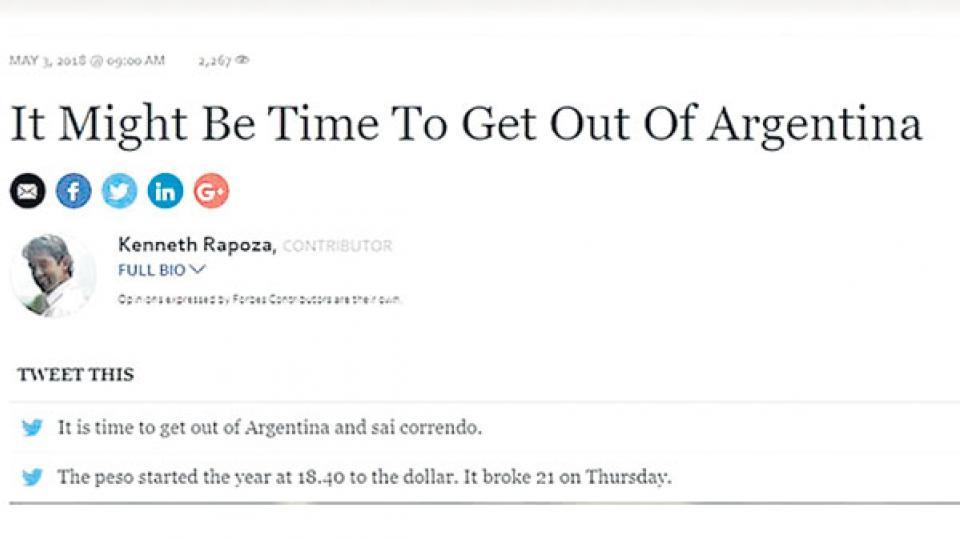 Argentina fue la noticia principal de Financial Times y también sobresalió en Forbes.