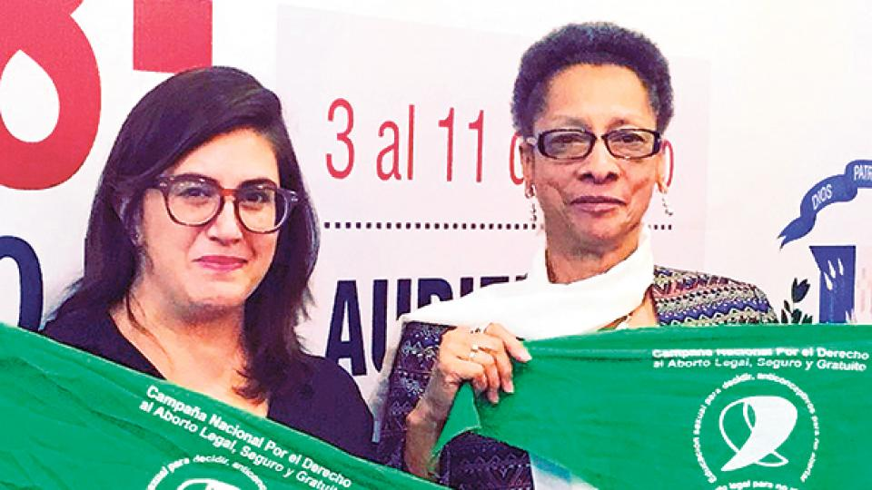 La abogada Edurne Cárdenas, del CELS, y la presidenta de la CIDH, Margarette May Macaulay.
