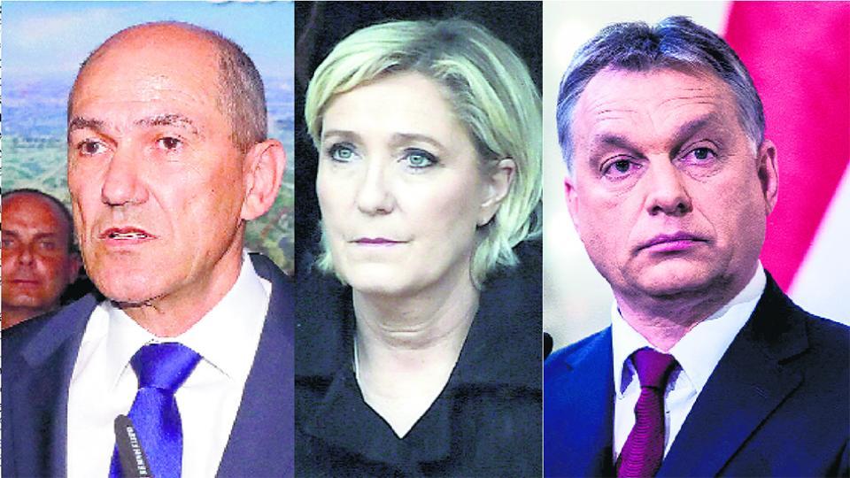 Janez Jansa, Marine Le Pen y Víktor Orban, tres adalides de la retórica xenófoba en Europa.