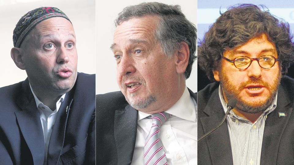 El rabino Sergio Bergman (Medio Ambiente), Lino Barañao (Ciencia) y Pablo Avelluto (Cultura), expectantes.