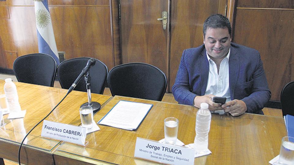 Jorge Triaca, ministro de Trabajo. El poder adquisitivo del salario no está entre las prioridades, dio a entender.