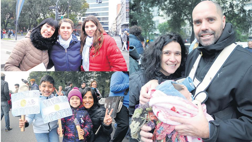 Rita con sus hijas Oriana y Ludmila, Emilce con Calixto y Lisandra, y Cristian y Juliana con su bebé, desafiaron el frío y fueron a la 9 de Julio.