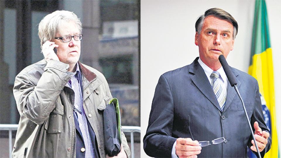 Bannon y Bolsonaro, un combo para entusiasmar a la ultraderecha racista y xenófoba en Brasil.