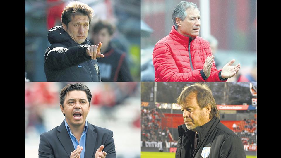 Cuatro entrenadores ante una prueba decisiva: Barros Schelotto, Holan, Gallardo y Zielinski.