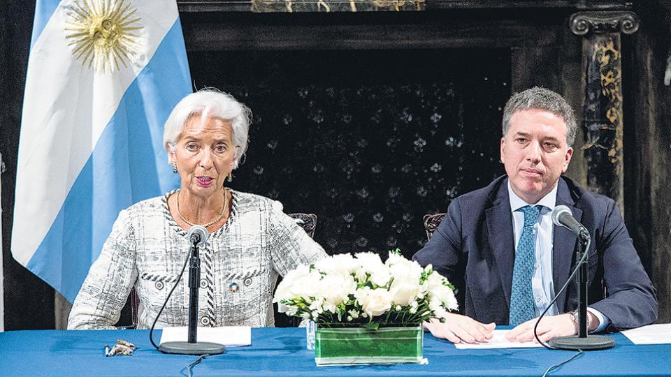 La titular del FMI, Christine Lagarde, y el ministro de Hacienda, Nicolás Dujovne.