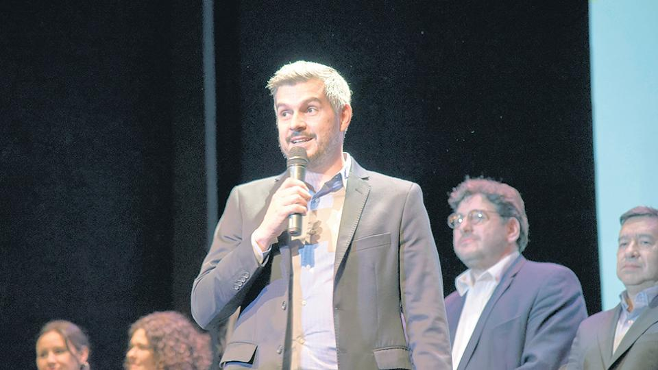 El jefe de Gabinete, Marcos Peña, encabezó ayer un encuentro del oficialismo en el Teatro Regina.