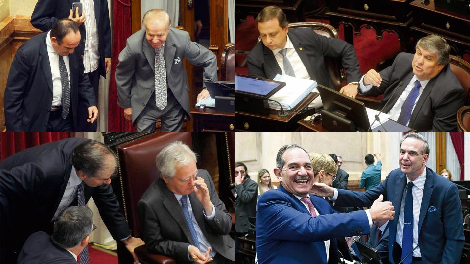 """Carlos Menem estuvo desde temprano. José Mayans: """"La revolución que pregonamos es justicialista"""". Federico Pinedo escucha a dos colegas. Alperovich y su saludo con Pichetto."""