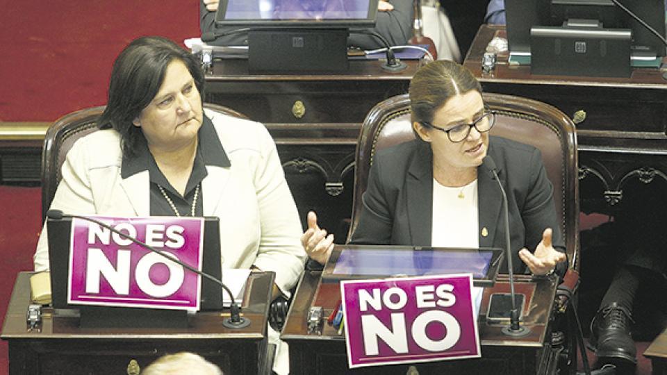 Muchxs senadorxs mostraron uno de los carteles de las campañas feministas.