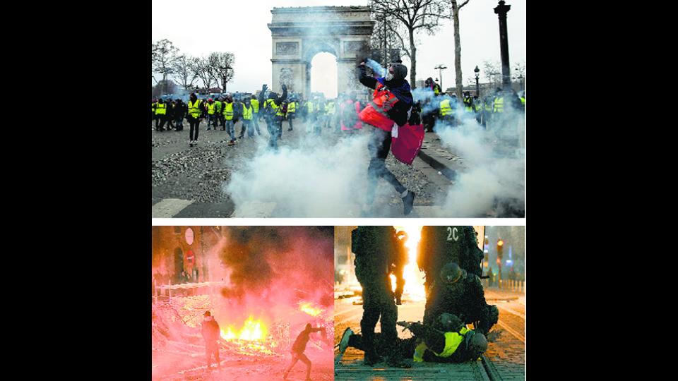 Chalecos amarillos en acción en el Arco del Triunfo y Toulouse (abajo izq.) y manifestante detenido en Bordeaux.