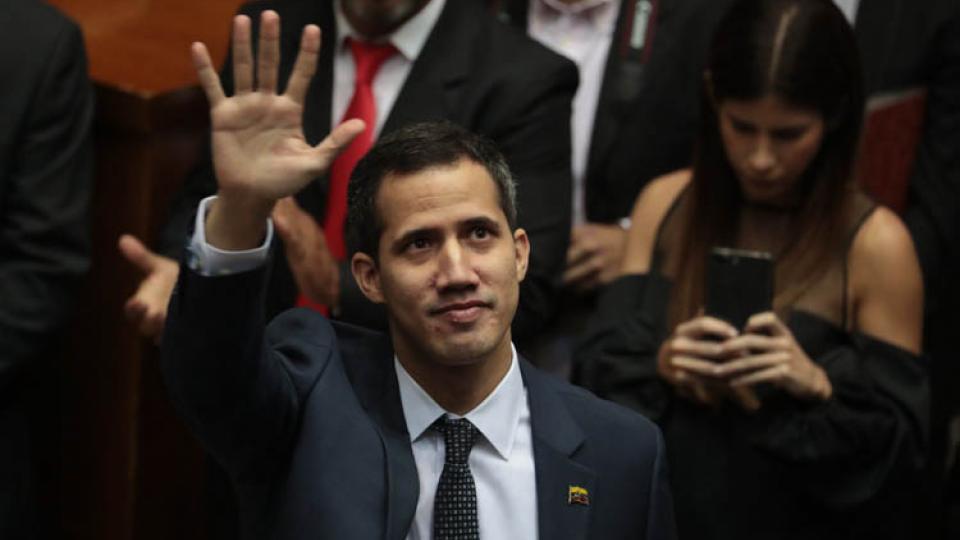 Guaidó, tras jurar hoy como presidente de la Asamblea Nacional de Venezuela.