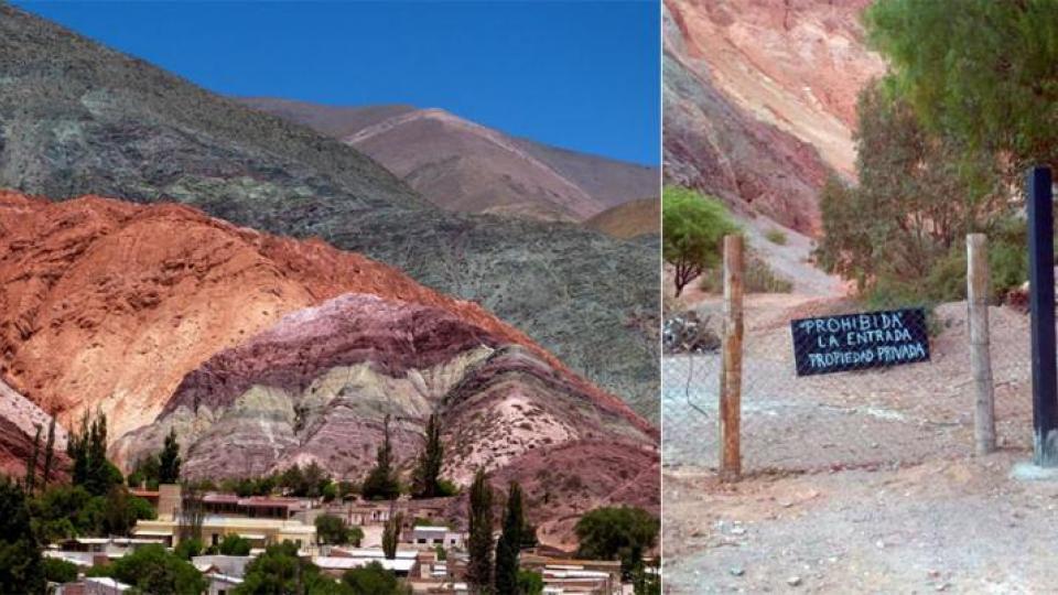 El purmamarqueño Edgardo Vilte cercó tramos linderos al cerro, y dice querer armar allí un anfiteatro público.