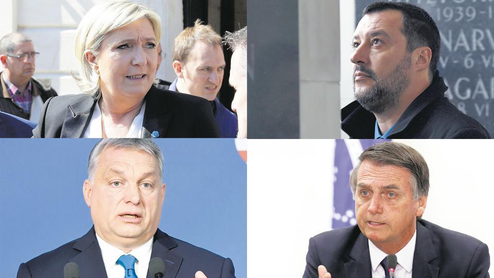 De izq. a der. arriba: Marine Le Pen y Matteo Salvini; abajo: Victor Orban y Jair Bolsonaro.