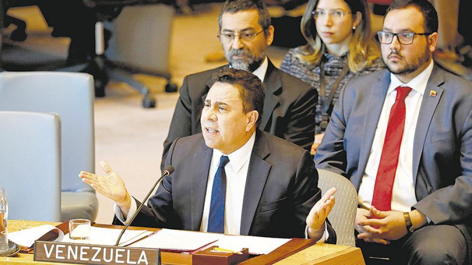 El embajador Samuel Moncada denunció el ataque diseñado y aplicado desde EE.UU. contra Venezuela.