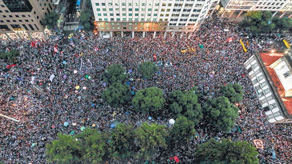 En Río, la manifestación contra los recortes en Educación fue multitudinaria.