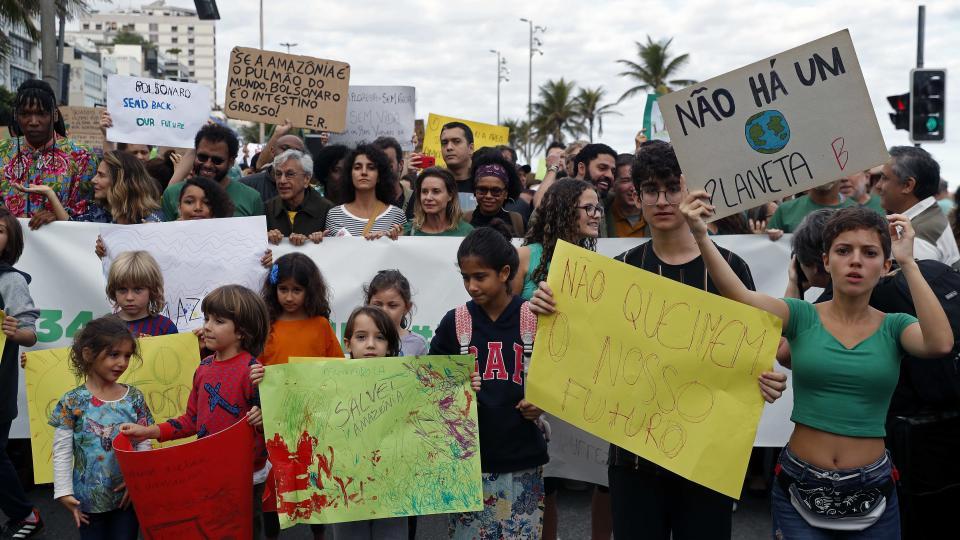 En Río de Janeiro manifestaron en contra de Bolsonaro por los incendios en la Amazonia.