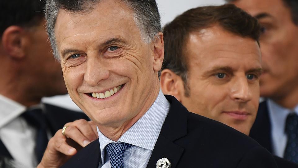 El presidente Mauricio Macri festeja el fake del acuerdo.