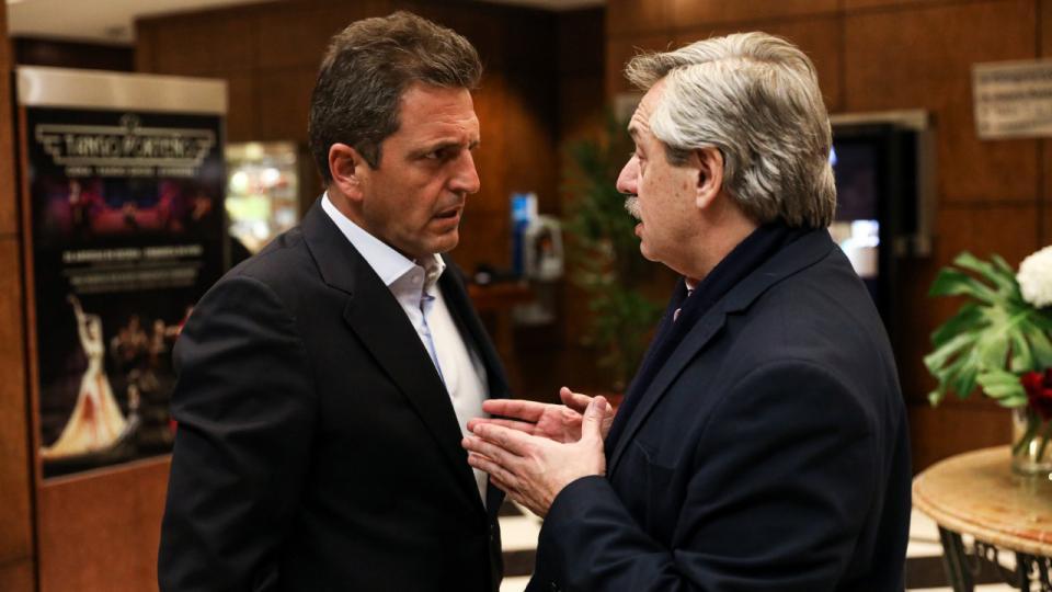 Sergio Massa y Alberto Fernández en el encuentro de ayer.