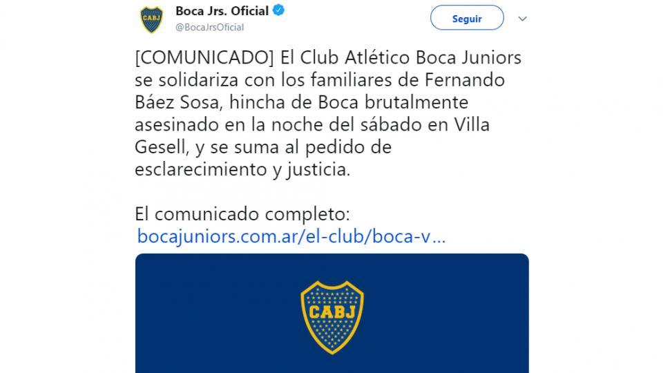 "Boca salió a condenar el ""brutal asesinato"" de Fernando Báez Sosa"