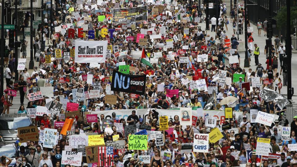 Una de las protestas más numerosas tuvo lugar en la ciudad de Chicago, en el centro del país.